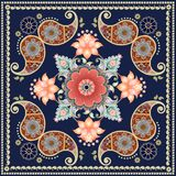 Shawl with red and orange flowers and paisley. Indian, russian,persian motives. Lovely tablecloth Royalty Free Stock Image