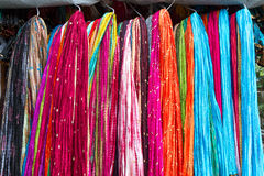 Shawls on a market in India Royalty Free Stock Photos