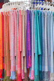 Shawls. Scarves and shawls in various colors Royalty Free Stock Photos