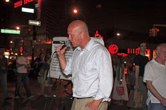 Shawn Holes in New York City. Rev. Shawn Holes of Luke Ten Two Ministries does his open air preaching in New York City, 14th street and Union Square. Image taken Royalty Free Stock Photo