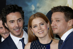 Shawn Levy, Jeremy Renner and Amy Adams Stock Photos