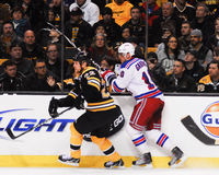 Shawn Thornton and Marian Gaborik along the boards. Royalty Free Stock Photography
