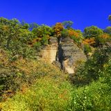Shawnee National Forest Bluffs. Bluffs and autumn forest scenery of the Shawnee National Forest in southern Illinois Royalty Free Stock Photography