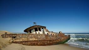 Shawneeskeppsbrott, den skelett- kusten av Namibia, Sydvästafrika royaltyfria foton