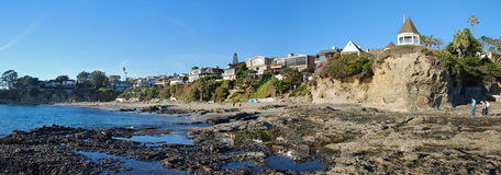 Shaws Cove, Laguna Beach, California. Panorama of Shaws Cove, North Laguna Beach, California. A beautiful and secluded beach/cove with spectacular bluffs and stock image