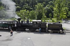 Cass Scenic Excursion Train - 2. The Shay-geared steam locomotive gets ready to take tourists up the old logging railroad into the mountains of West Virginia Royalty Free Stock Photos