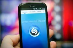 Shazam是音乐证明服务 库存图片