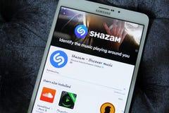 Shazam app για τη μουσική Στοκ Εικόνες