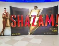 Shazam-Filmplakat, dieser Film ist über ein Kind kann zu den erwachsenen Superhelden Shazam machen stockbild
