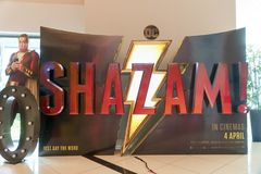 Shazam movie poster, this movie is about a kid can turn into the adult superhero Shazam royalty free stock image
