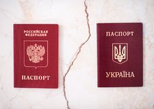 Shchelkovo,Russian Federation - Mar 09, 2019: Two foreign passports of citizen Russian Federation and Ukraine. Shchelkovo, Russian Federation - Mar 09, 2019: Two royalty free stock photo