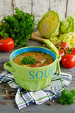 Shchi - traditional russian cabbage soup on a wooden table Stock Photo