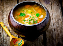 Shchi, traditional Russian soup from cabbage. Royalty Free Stock Image