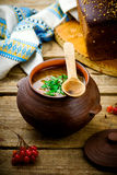 Shchi, traditional Russian soup from cabbage. Stock Photo