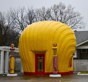 She'll Service Station #1. This is a Winter picture of the iconic Shell Service Station located in Winston-Salem, North Carolina in Forsyth County. This royalty free stock photography