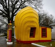 She'll Service Station #2. This is a Winter picture of the side view of the iconic Shell Service Station located in Winston-Salem, North Carolina in stock photos