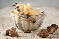 Shea Butter and nuts stock photos