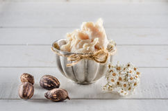 Shea butter and nuts. On a wood Stock Image