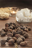 Shea nuts on a natural background Royalty Free Stock Photos