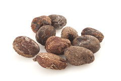 Shea nuts on white background, karite seeds Royalty Free Stock Photos