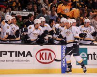 Predators Score!. Nashville Predators defenseman Shea Weber #6 congratulates teammates after scoring a goal Royalty Free Stock Photography