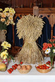 Sheaf of Corn, church harvest decorations Royalty Free Stock Photography