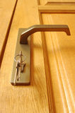 The sheaf of keys is inserted into a keyhole Royalty Free Stock Image