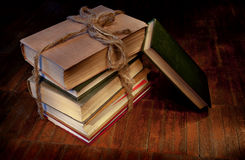 Sheaf of old books. Sheaf of books on old wooden to a floor Royalty Free Stock Image