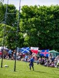 Sheaf toss discipline at Scottish Highland games stock images