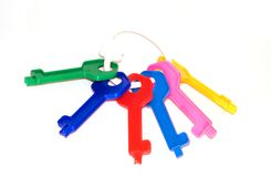 Sheaf of toy multi-coloured keys Stock Images