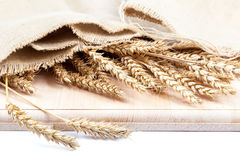 Sheaf of wheat ears in a cloth on a wooden board. Royalty Free Stock Image