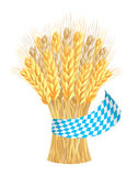 Sheaf of wheat ears with ribbon in bavarian colors Royalty Free Stock Photography