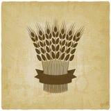 Sheaf of wheat with ribbon vintage background. Vector illustration - eps 10 Stock Image