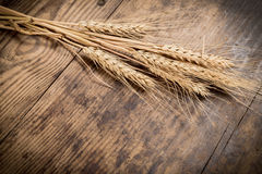 Sheaf of wheat on wooden background Royalty Free Stock Photography