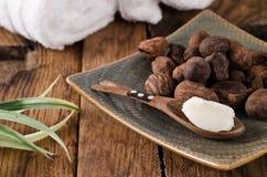 Sheanuts en boter stock afbeelding