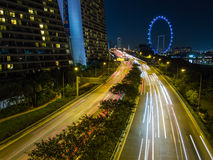 Sheares Avenue night traffic, Singapore Royalty Free Stock Image