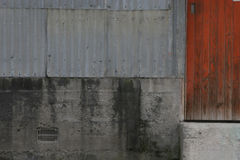 Shearing Shed Textures. The outside of a shearing shed made of corrugated iron, concrete and wood Stock Photography
