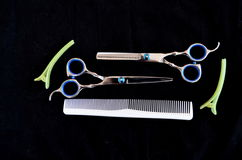 Shears and brushes for hair Royalty Free Stock Photos