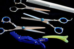 Shears and brushes for hair Royalty Free Stock Images