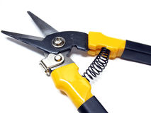 Shears for cutting metal. Metal scissors on a white background Stock Photos