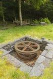 Sheave, горизонтальное утопленное железное колесо стоковая фотография rf