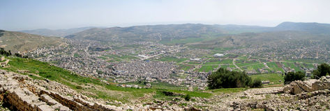 Shechem, Israel. Panoramic view of ancient city of Shechem, Israel Stock Photos