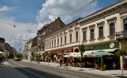 Shechenyi street in Miskolc Stock Images