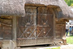 Shed. Belonging to old household from Surdesti, Maramures county, built in the xviii century. Now at Dimitrie Gusti village museum in Bucharest, Romania Royalty Free Stock Images