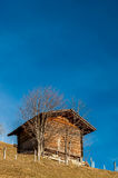 Shed and blue sky, Switzerland Stock Photo