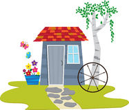 Shed With Butterflies. A cute garden shed with flowers and butterflies. Eps10 Royalty Free Stock Photos