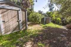 Shed and cisterns on a Fallbrook property. Outdoors in Southern California homes ready for real estate listings Stock Photo