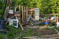 Shed. Construction of near random found objects Royalty Free Stock Photos