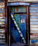 Shed door. Very colorful door Royalty Free Stock Images