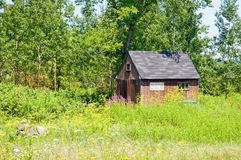 Shed on edge of woods. A view across a overgrown field to an old wooden shed or shack on the edge of the woods Royalty Free Stock Photography